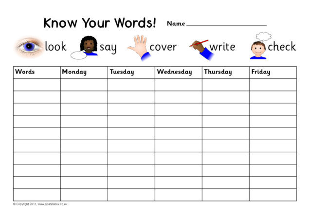 Editable Weekly Spelling Practice Charts SB5132  SparkleBox