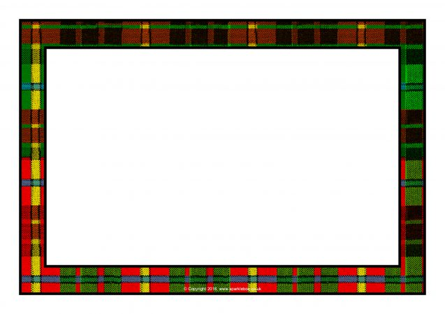 Tartan Themed Editable A4 Page Borders SB11687 SparkleBox