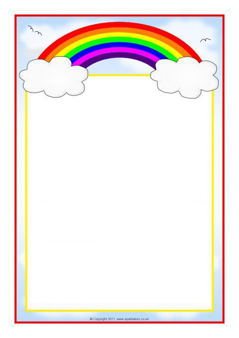 RainbowThemed A4 Page Borders SB7475  SparkleBox