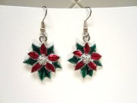 Christmas Earrings Poinsettias Red and Green Enameled ...