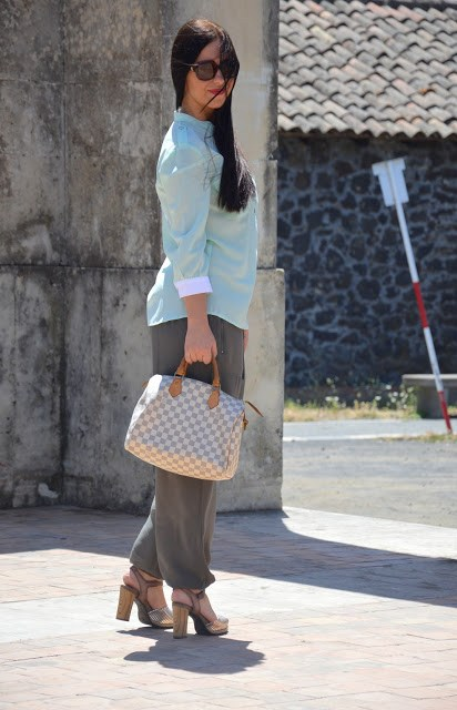 DSC_0177 Pantaloni alla turca e camicia color menta Sumissura