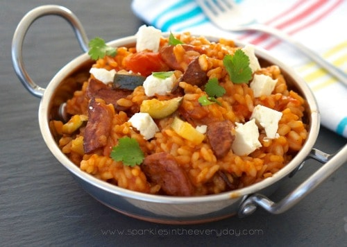 Delicious One Pot Chorizo and Zucchini Paella!
