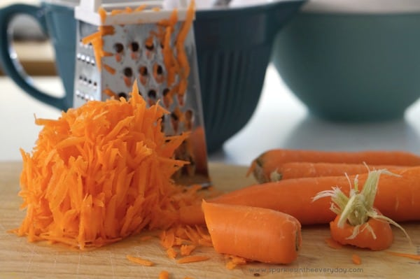 Grated carrot for Gluten Free Almond and Carrot Cake recipe!
