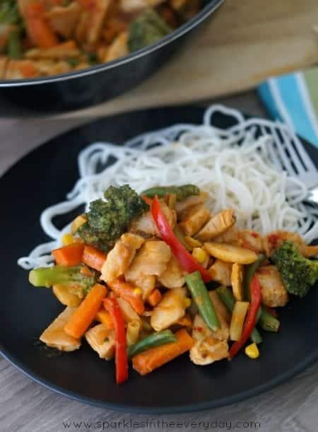 Stir-fry with easy peanut sauce recipe! (GF)