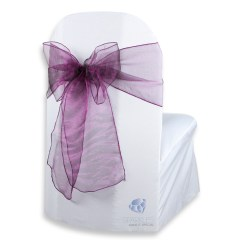 Purple Chair Sashes For Weddings Home Focus Covers 100 Pcs Organza Cover Bow Sash 108 Quotx8 Quot Plum