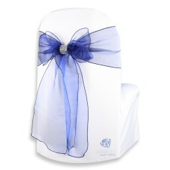 Chair Covers And Bows Bridgend Heavy Duty Barber Chairs 20 Pcs Organza Cover Bow Sash 108 Quotx8 Quot Navy Blue
