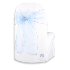Baby Blue Chair Covers Dark Grey Velvet Accent 25 Pcs Organza Cover Bow Sash 108 X8 Light W Details About Qk