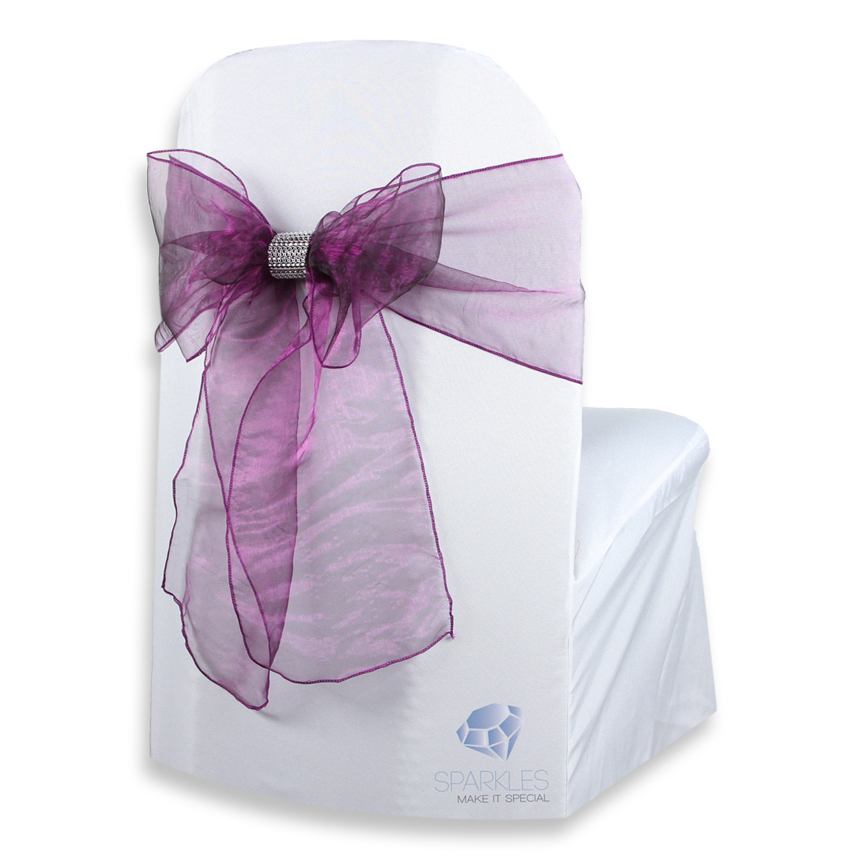 chair covers with bows attached sewing machine 50 pcs organza cover bow sash 108 quotx8 quot plum purple