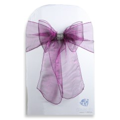 Chair Covers With Bows Attached Trendy Occasional Chairs 50 Pcs Organza Cover Bow Sash 108 Quotx8 Quot Plum Purple