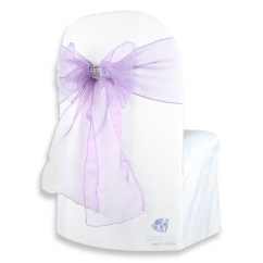 Chair Covers And Bows Ebay Ikea High 150 Pcs Organza Cover Bow Sash 108 Quotx8 Quot Purple W