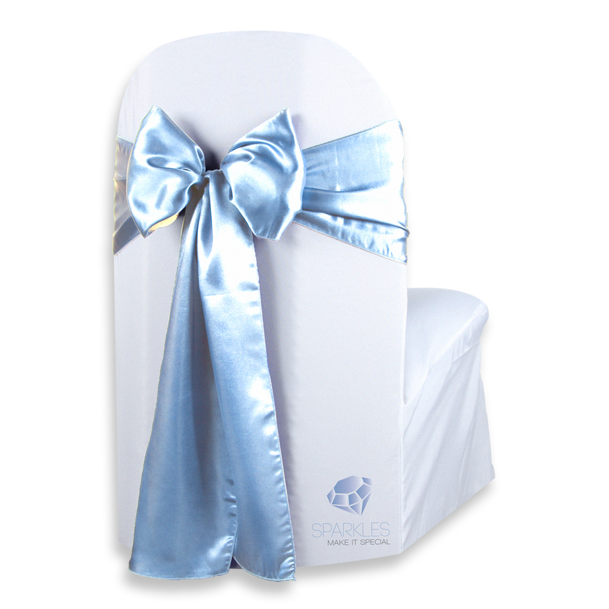 baby blue chair covers modern outdoor fire pit chairs 50 pcs satin cover bow sash 108 x8 light wedding party lk