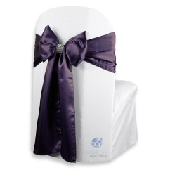 Purple Chair Sashes For Weddings Wingback 150 Pcs Satin Cover Bow Sash 108 Quotx8 Quot Plum