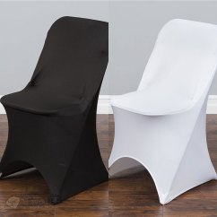 Ivory Chair Covers Spandex Diy Burlap Sashes Black White Or Folding Arched