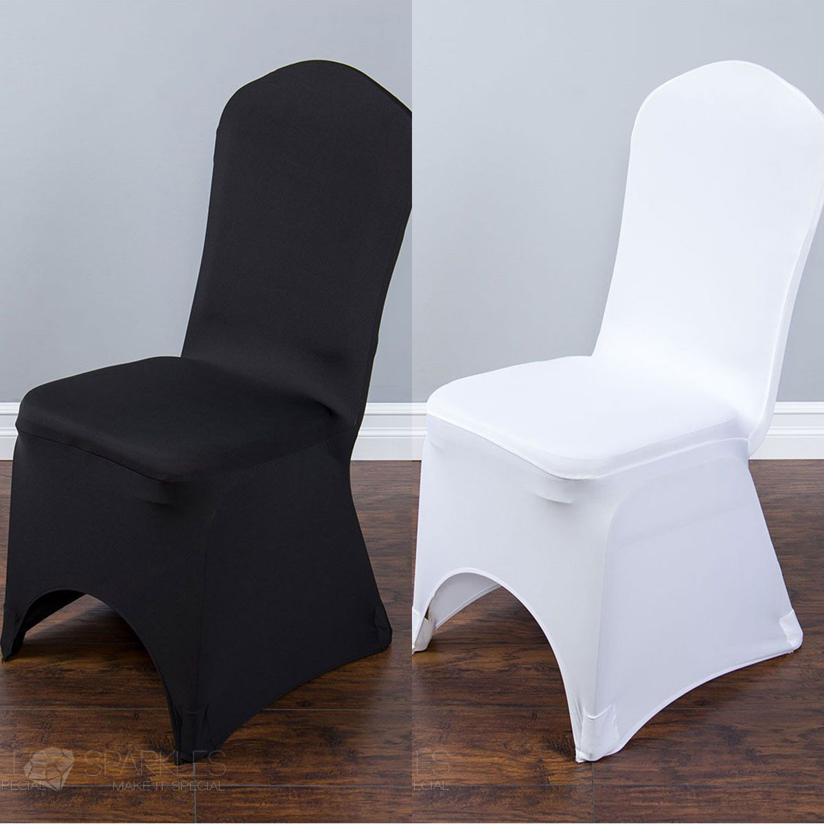 white universal chair covers x3 wheelchair spandex black or ivory banquet arched