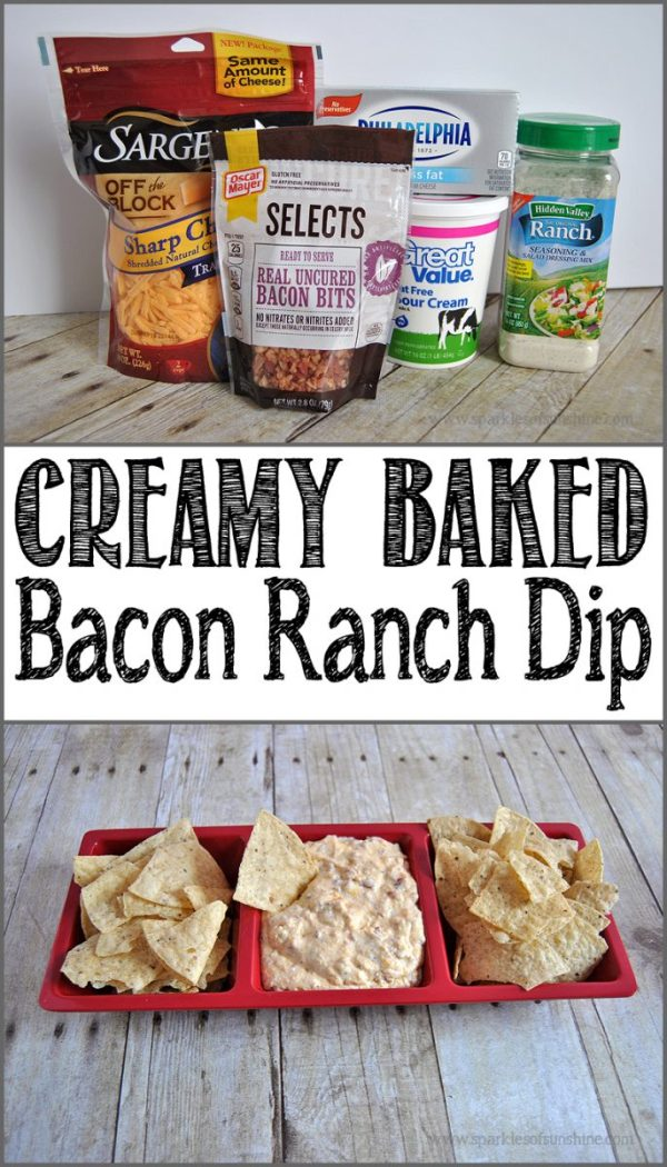 Creamy Baked Bacon Ranch Dip, this dip is so easy and super yummy!