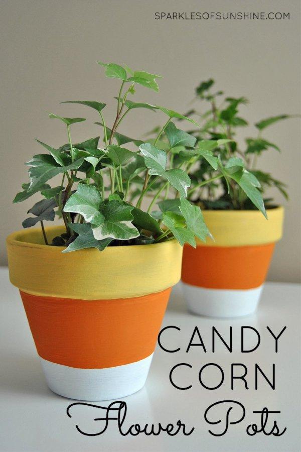 Painted Flower Pot Candy Corn