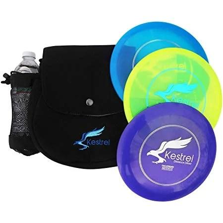 Kestrel Discs Golf Pro Set   3 Disc Pro Pack Bundle and Small Bag   Disc Golf Set   Includes Distance Driver, Mid-Range and Putter   Small Disc Golf Bag