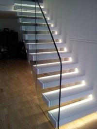 Staircase with LED lights.  SPARKLE WORDS, social blog