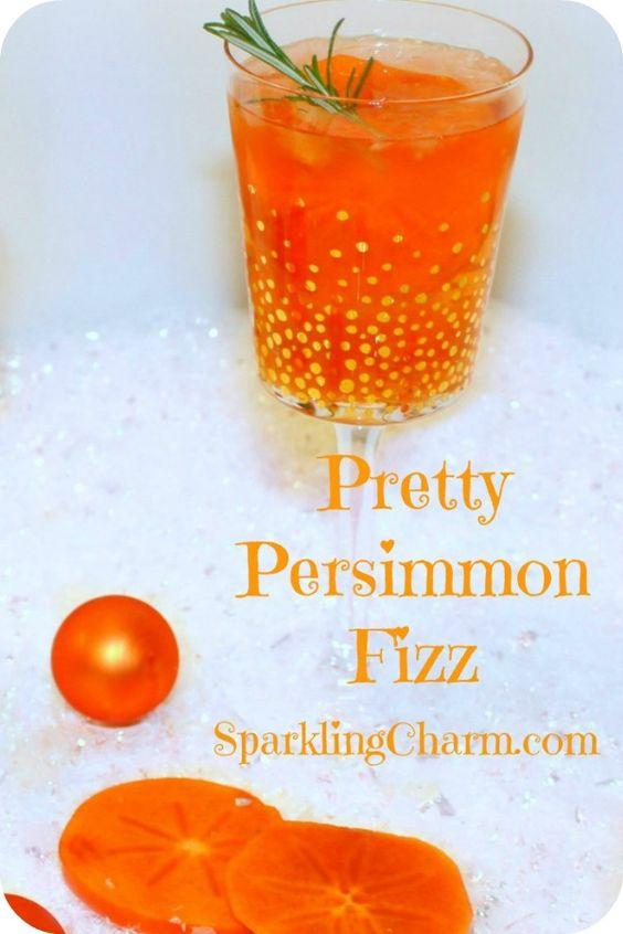 Pretty Persimmon Fizz Cocktail