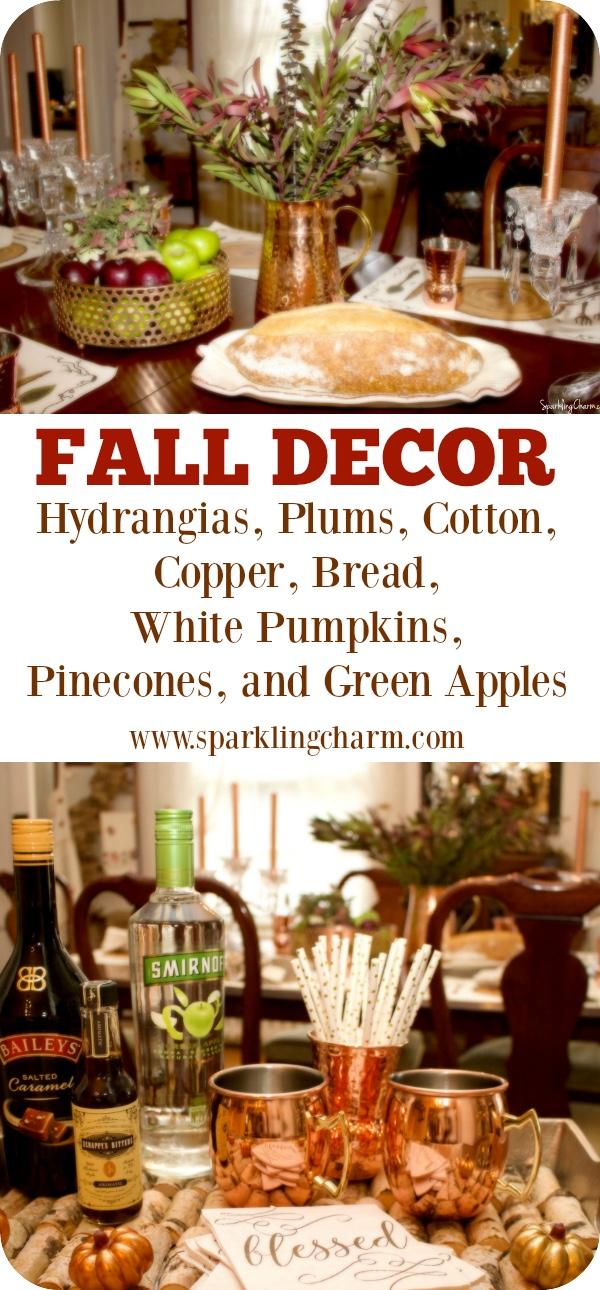 Hydrangeas, Plums, Pumpkins, Green Apples & Copper: Fall Decor