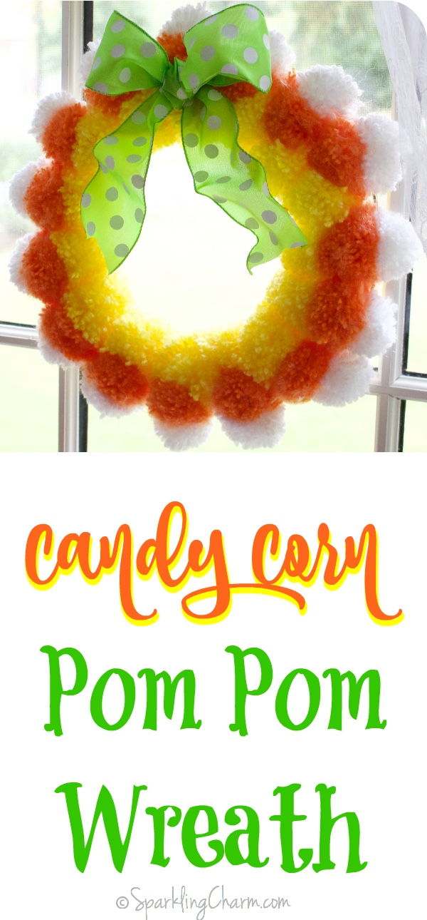 Candy Corn Pom Pom Wreath