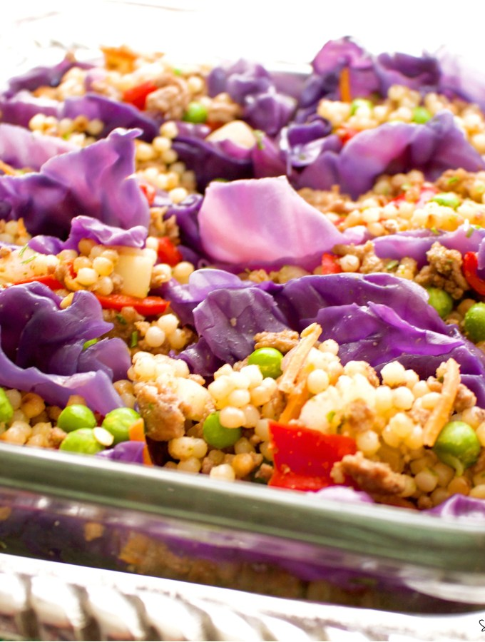 Rainbow Cous Cous Cabbage Boats