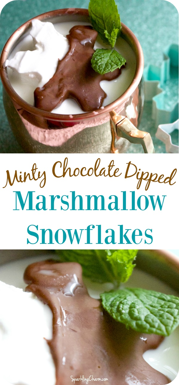Minty Chocolate Dipped Marshmallow Snowflakes
