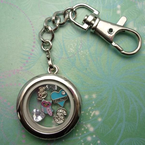 Key Chain Locket - Cz Heart Floating Charm
