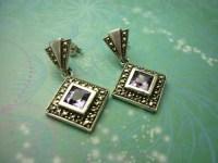 Vintage Sterling Silver Earrings  Amethyst   Sparkling ...