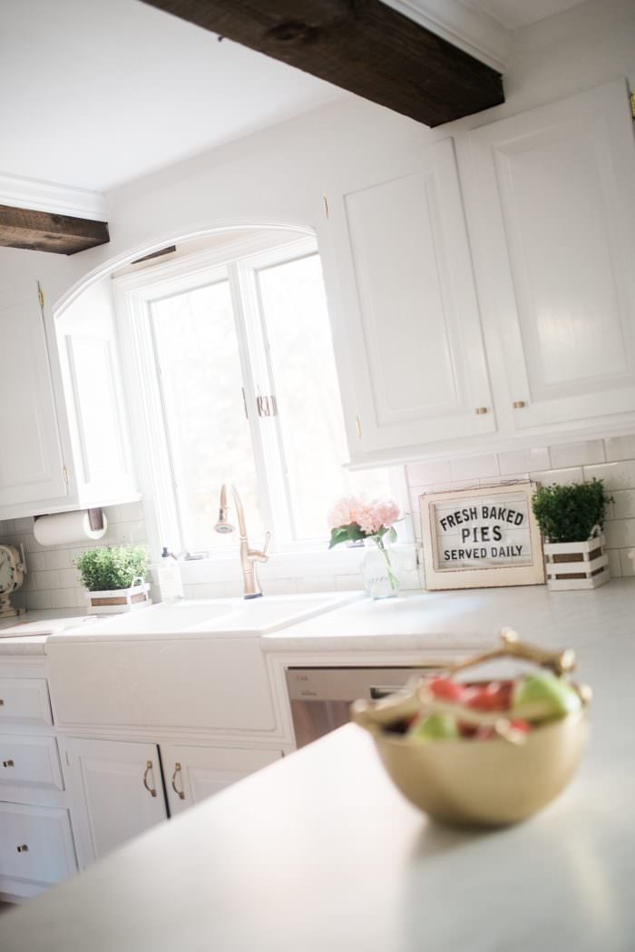 no touch kitchen faucet island with sink and dishwasher farmhouse makeover