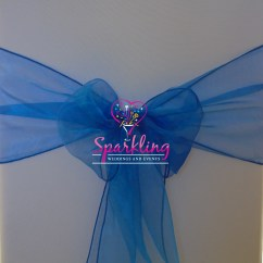Chair Covers With Bows Attached Little Girls Chairs Blue Organza Sash Royal