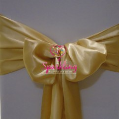 Ivory Chair Covers With Gold Sash Backwash Chairs For Sale And Bows