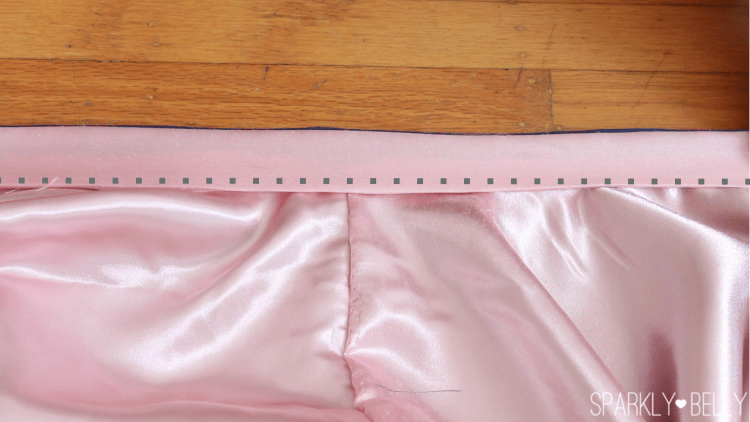 Sew on waistband to skirt
