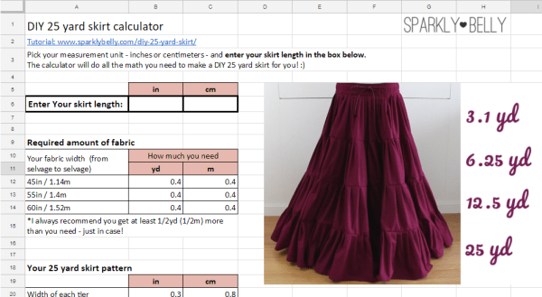 DIY 25 yard skirt Calculator preview