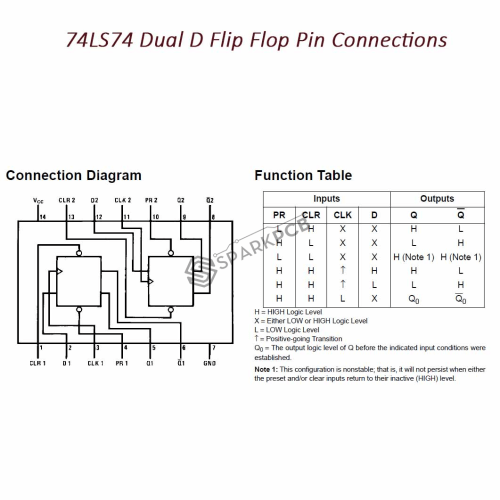 small resolution of  74ls74 dual d flip flop ic