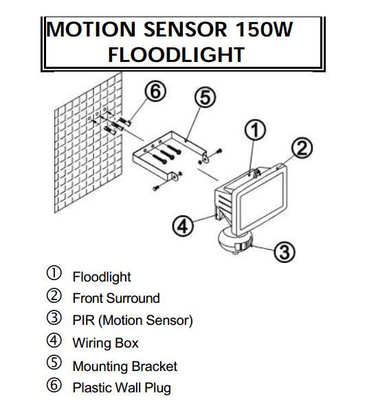 IP44 150W Mini Flood Light in Black with PIR Motion Sensor