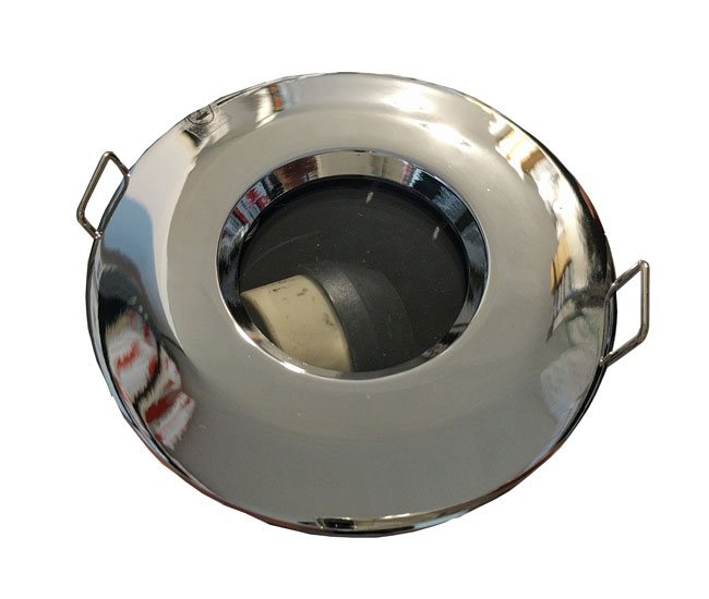 FRSMBCH  IP65 Fire Rated GU10 Fixed Downlight in Chrome NonTilting Shower Recessed Light