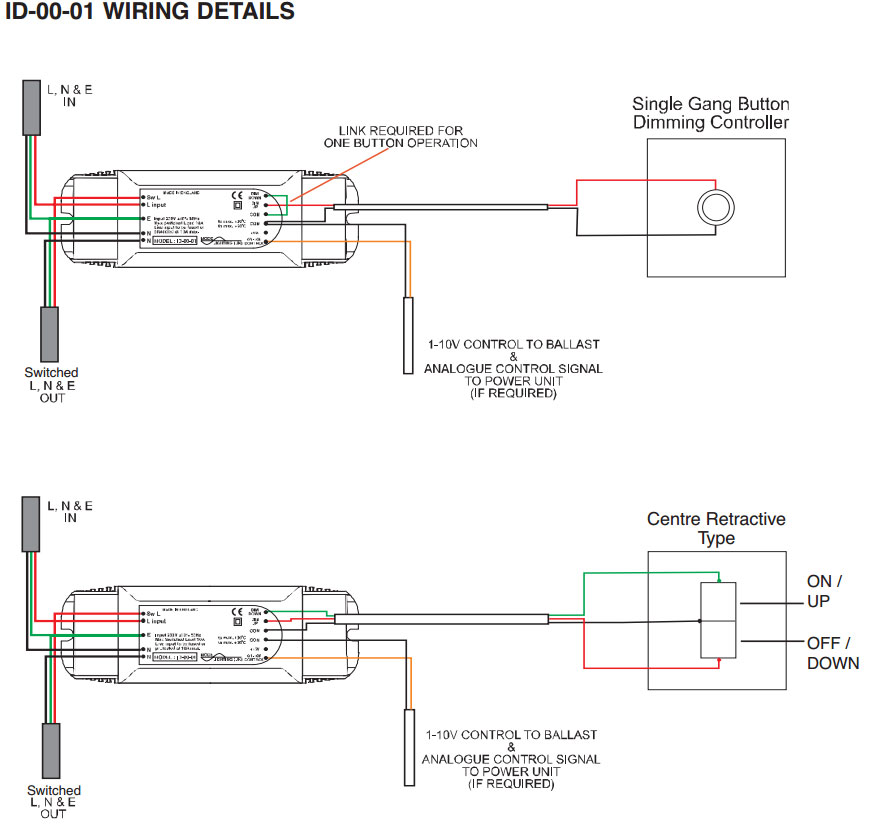 wiring diagram for downlights with transformers stages of mitosis labeled mode id-00-01 in-line impulse dimmer 1-10v 1000w mains / low voltage lights | id0001