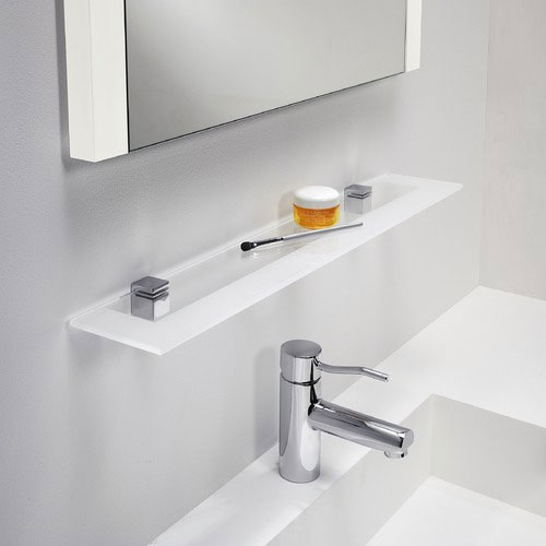 0862 Glass Shelf For Bathroom In Polished Chrome With Frosted Glass 600mm Bathroom Shelf