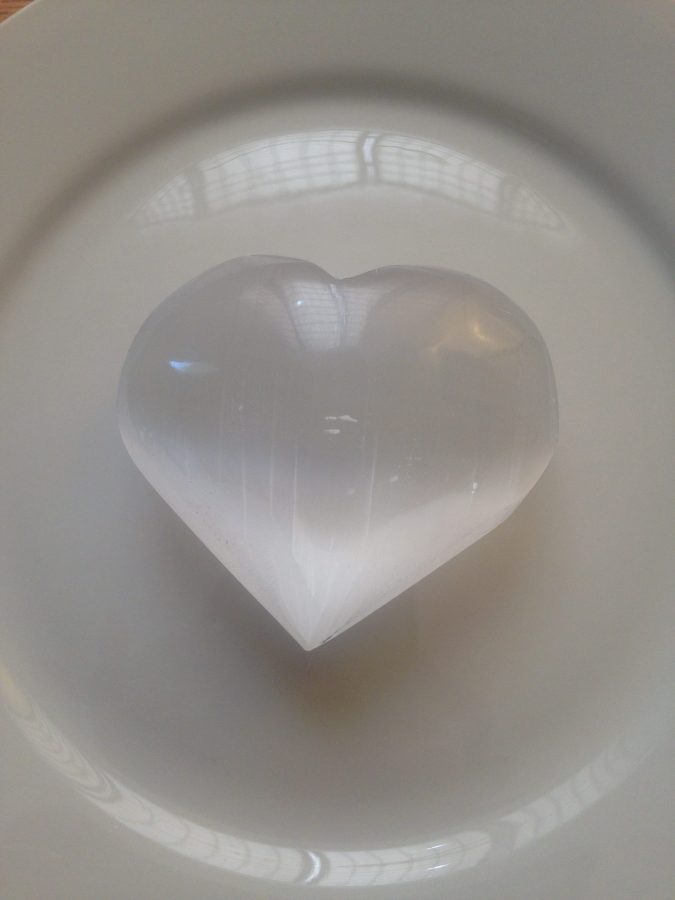 Selenite hearts with activation