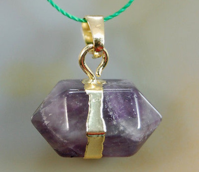 Natural Amethyst Eye Prism Reiki Chakra Pendant With DNA Activation