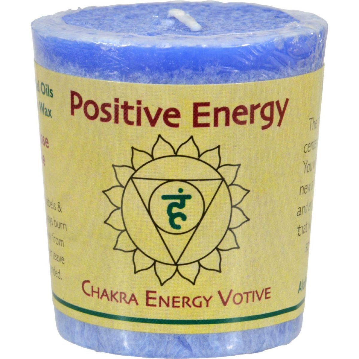 Positive energy votive candle with throats chakra activation