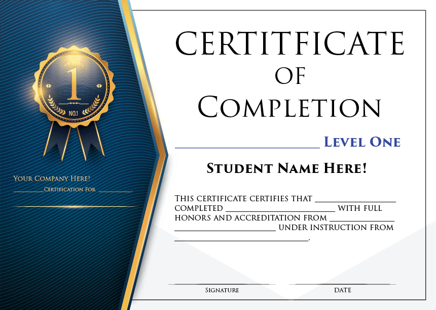 Blue Certificate Of Completion