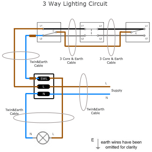 three way light circuit diagram   simple electronic