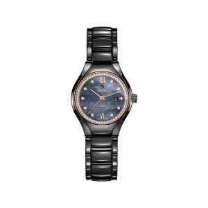 Dames horloge uit de Rado True collection - uitgevoerd met keramische kast en band - voorzien van een blauw parelmoer wijzerplaat met diamant en een diamanten lunette - De Rado collectie is verkrijgbaar bij Sparnaaij juweliers in Aalsmeer
