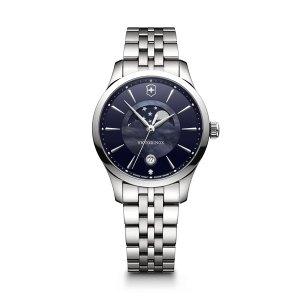 Dames horloge uit de Victorinox Alliance Small collection - uitgevoerd met stalen band en kast en een blauwe wijzerplaat - voorzien van een quartz uurwerk met maan phase - De victorinox collectie is verkrijgbaar bij Sparnaaij Juweliers in Aalsmeer