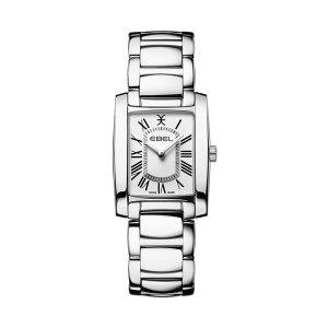 Dames horloge uit de Ebel Brasilia Collection - uitgevoerd met stalen kast en band - voorzien van een quartz uurwerk en witte wijzerplaat - De Ebel collectie is verkrijgbaar bij Sparnaaij Juweliers in Aalsmeer