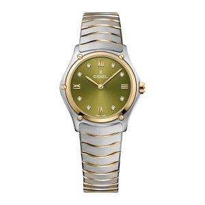 Dames horloge uit de Ebel Sport Classic collection - uitgevoerd met een stalen kast en band en een groene wijzerplaat voorzien van diamant - De Ebel collectie is verkrijgbaar bij Sparnaaij Juweliers in Aalsmeer