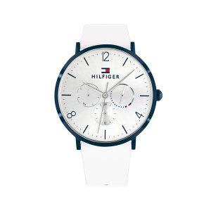 Tommy Hilfiger horloge met een witte leren band en een witte wijzerplaat en een blauwe rand - Te koop bij Sparnaaij