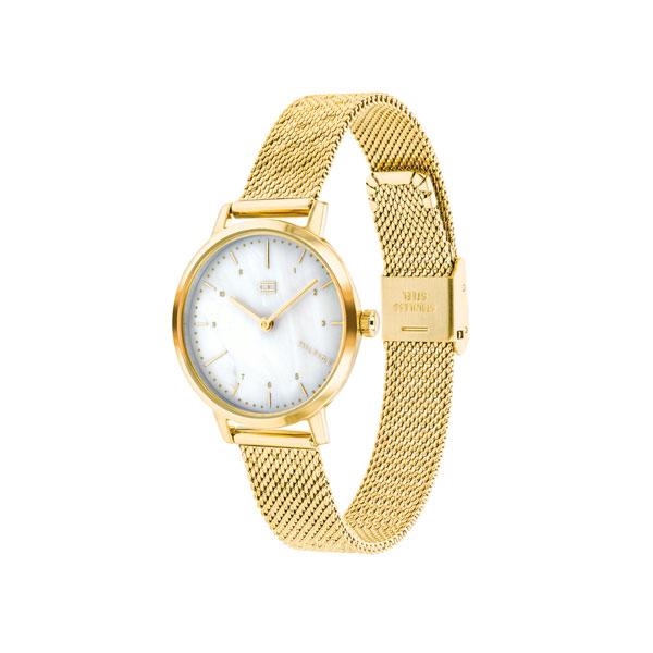 Tommy Hilfiger horloge met een goudkleurige band en kast en een parelmoer wijzerplaat - Te koop bij Sparnaaij Juweliers in Aalsmeer